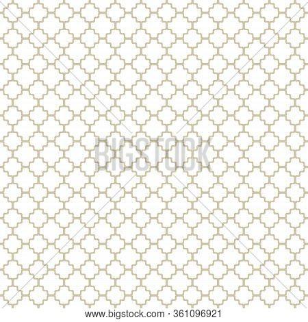 Subtle Golden Vector Geometric Seamless Pattern With Ornamental Grid, Net, Mesh, Lattice. Simple Abs