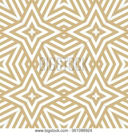 Golden Vector Geometric Lines Seamless Texture. Modern Abstract Linear Pattern. Stylish Gold And Whi