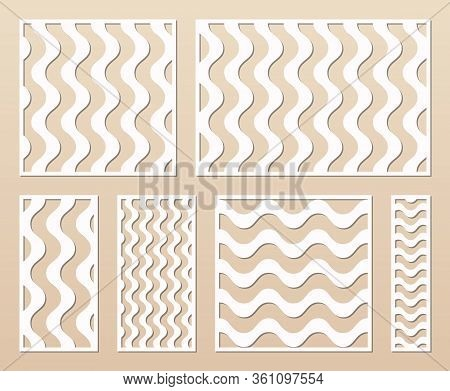 Laser Cut Template Collection. Vector Stencil With Abstract Geometric Pattern, Wavy Lines, Stripes.