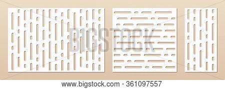 Laser Cut Pattern Set. Vector Template For Die Cut, Laser Cutting Of Wood, Metal, Plastic, Paper, En