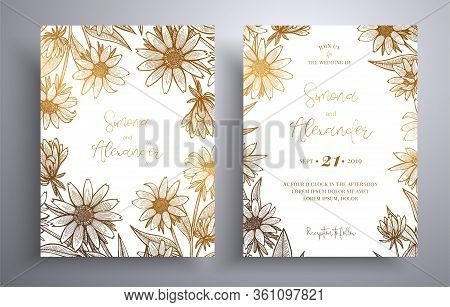 Golden Invitation With Frame Of Leaves And Flowers. Botanical Template With Space For Your Text. Bea