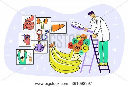 Vector Flat Abstract Enlarged Banana, Which Is Examined With Loupe By Scientist. Above The Fruit, Vi