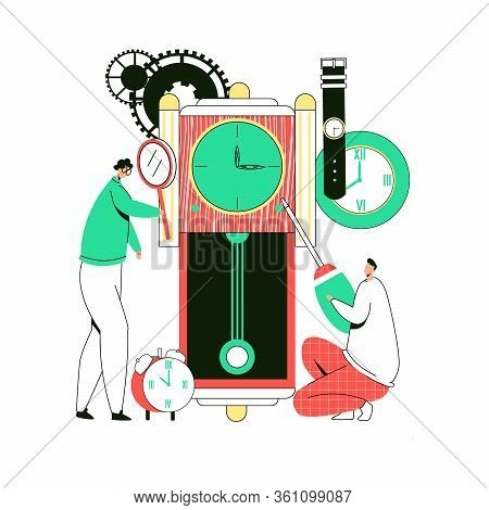 Vector Flat Illustration With Enlarged Clocks That Are Diagnosed, Repaired By Working Watchmakers. C