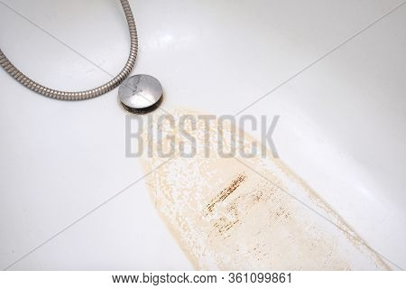 Extremely Dirty Bath Drain Mesh, Hole And Surface Covered With Limescale Or Lime Scale And Rust, Cle