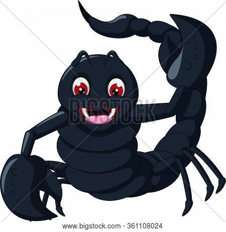Funny Black Scorpion Cartoon Illustration Vector For Your Design