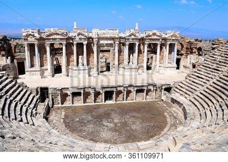 Theater stage in ancient amphitheater, Hierapolis, Pamukkale, Anatolia, Turkey. UNESCO world heritage site
