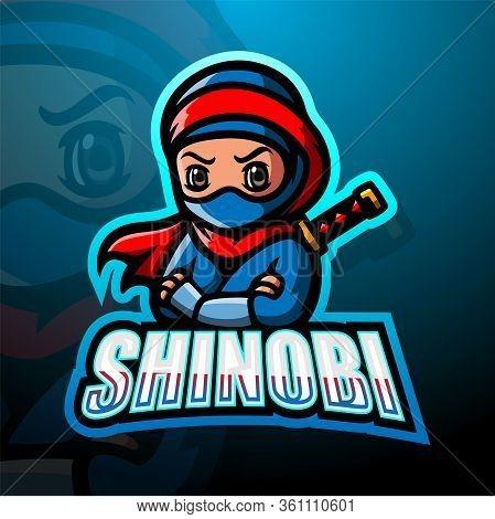 Vector Illustration Of Shinobi Mascot Esport Logo Design