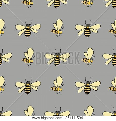Fluttering Bees In Lines On Gray Background Seamless Vector Pattern Surface Design Honeybees