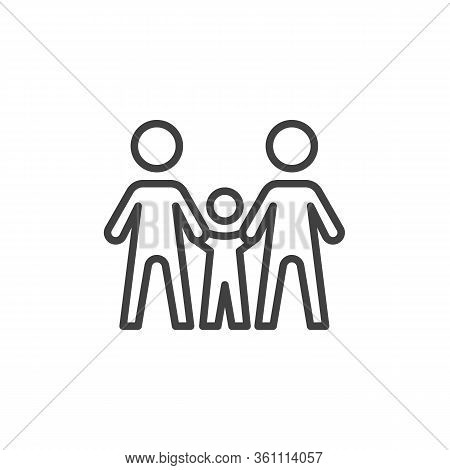 Family Line Icon. Linear Style Sign For Mobile Concept And Web Design. Parents And Baby Holding Hand
