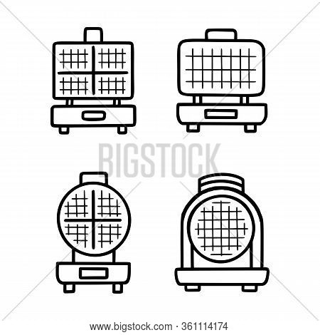 Waffle Iron Outline Vector Icon. Vector Illustration Isolated Stroke On White Background. Thin Line
