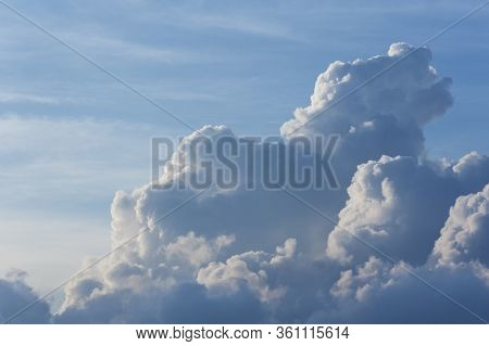Dramatic Cumulonimbus Cloud In Sky. Natural Abstract Background