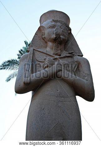 Statue Of A Pharaoh At The Temple Of Edfu, Nubia, Egypt