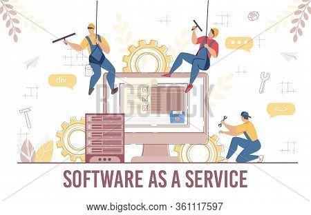 Software Service System Development Update Test. Man Technician Programmer Hanged On Rope Updating O