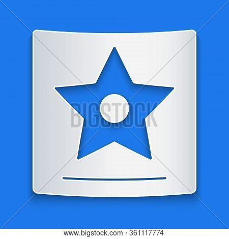 Paper Cut Hollywood Walk Of Fame Star On Celebrity Boulevard Icon Isolated On Blue Background. Famou
