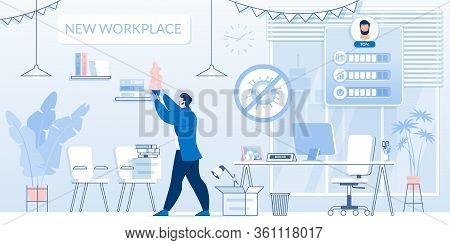 Successful Businessman Character At New Director Office Workplace After Covid19 Pandemic. Man Achiev