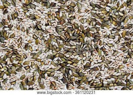 Background Of Sunflower Seeds And Pumpkin Seeds. Mixed Dried Seeds. Natural Texture. The View From T
