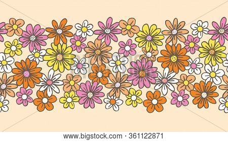 Retro Palette Hand Drawn Felt Tip Pen Daisies On Cream Background Floral Vector Seamless Pattern Bor