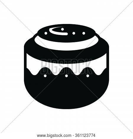 Black Solid Icon For Cinnamon-roll Cinnamon Roll Cinnamon-bun Pastry