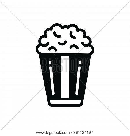 Black Solid Icon For Popcorn  Corn Crunchy Snack Unhealthy