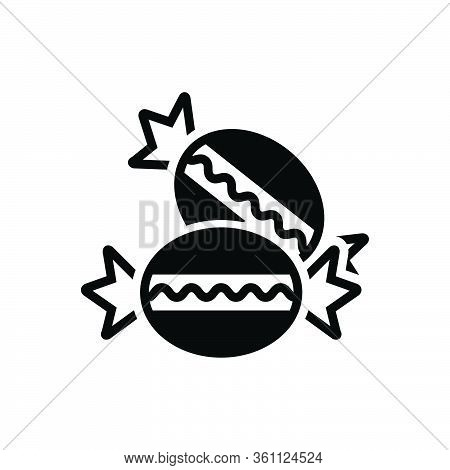 Black Solid Icon For Bonbon Candy Sweet Lollipop Hard-candy