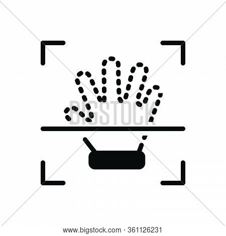 Black Solid Icon For Handprint Identity Creativity Fingerprint Biometry Hand-scan