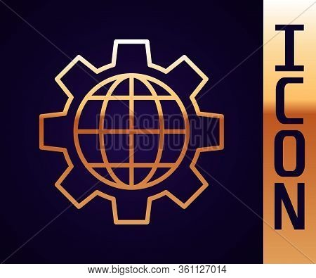 Gold Line Globe Of The Earth And Gear Or Cog Icon Isolated On Black Background. Setting Parameters.