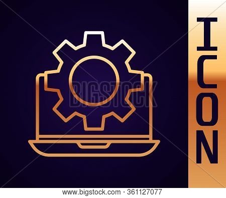 Gold Line Laptop And Gear Icon Isolated On Black Background. Adjusting App, Setting Options, Mainten