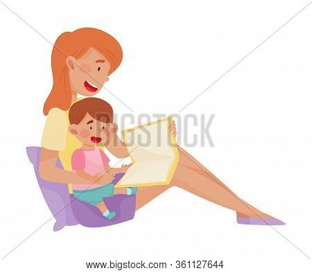 Young Smiling Mother And Her Little Baby Sitting And Reading Book Vector Illustration. Woman Spendin