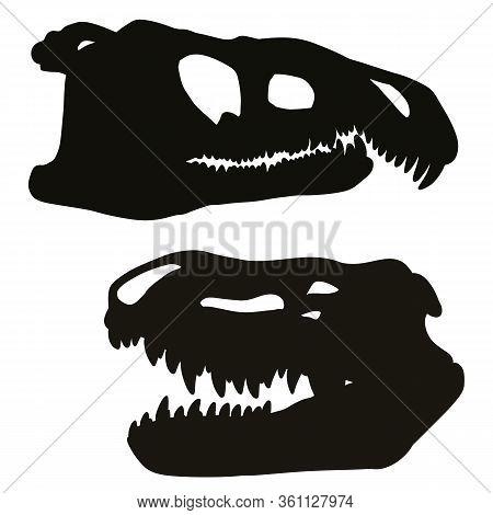Set Of Fossilized Dinosaur Skulls Silhouette Images. Carnivorous Pseudosuchians Reptile Dinosaur Fos