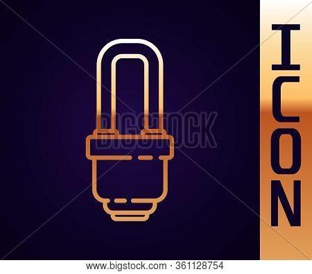 Gold Line Led Light Bulb Icon Isolated On Black Background. Economical Led Illuminated Lightbulb. Sa