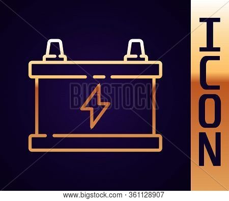 Gold Line Car Battery Icon Isolated On Black Background. Accumulator Battery Energy Power And Electr