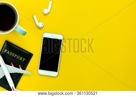 Flat Lay Image Of Accessory Clothing Man Or Women To Plan Travel In Holiday Background Concept.mobil