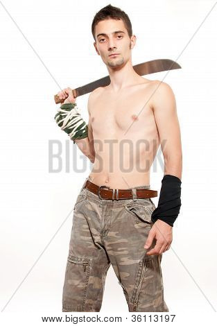 Young Fighter Holding A Machete