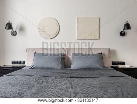 Interior Of Modern Bedroom With Light Walls