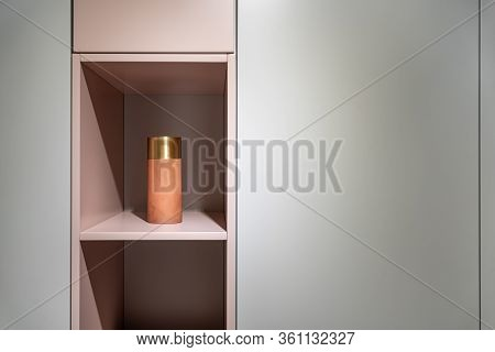 Interior Of Illuminated Modern Flat With Multicolored Cabinet