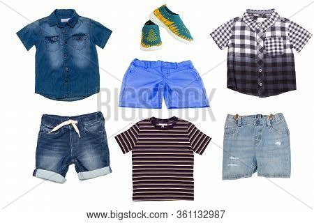 Collage Set Of Children Clothes. Denim Short Jeans And Short Pants, A Jeans Shirt, A Checkered And A