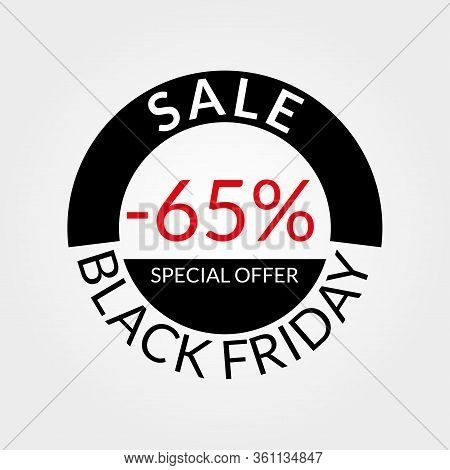 65% Sale Tag Or Discount Icon. Save 65 Percent Of Price. Black Friday Design Template.  Vector Illus