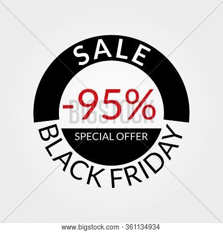 95% Sale Tag Or Discount Icon. Save 95 Percent Of Price. Black Friday Design Template.  Vector Illus