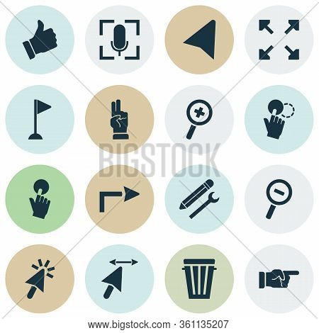 Click Icons Set With Zoom In, Click, Flag Mark And Other Like Elements. Isolated Vector Illustration