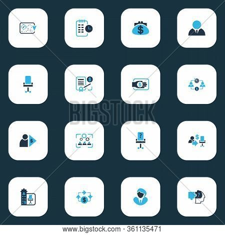 Business Management Icons Colored Set With Contract, Cash Flow, Financing And Other Capitalist Eleme