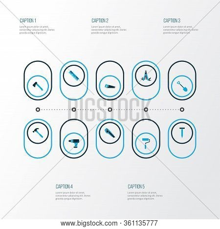 Repair Icons Colored Set With Hatchet, Measurement, Shovel And Other Cutter Elements. Isolated Illus