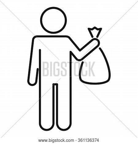 Man Take Garbage Bag Icon. Outline Man Take Garbage Bag Vector Icon For Web Design Isolated On White