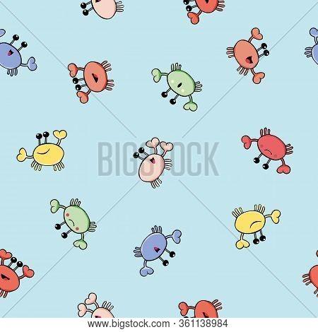 Happy Crab Vector Seamless Pattern Background. Multicolor Cartoon Crustacean In Ocean Backdrop. Mari