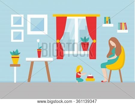 Mother And Child Is Staying At Home During Epidemy. Girl Is Playing With Toys On The Floor. Pregnant