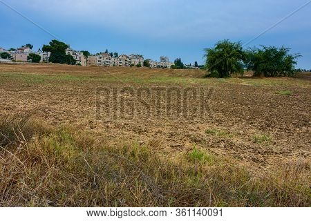 Empty Plowed Field After The Harvest