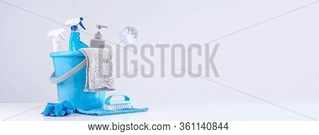 Cleaning Product Tool Equipments, Concept Of Housekeeping, Professional Clean Service, Housework Kit