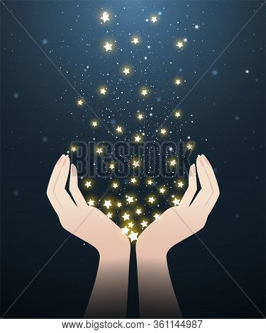 Two hands holding glowing stars in starry night look like meteor showers. A abstract astronomy background. Vector illustration.