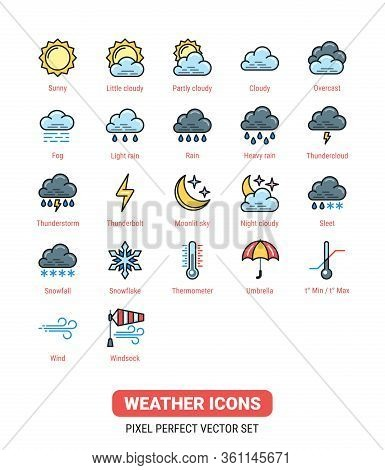 Weather Icons Kit. Icon Set For Application, Widget Or Web Site For Weather Forecasting. Color Versi