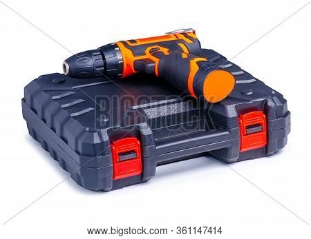 Cordless Driver Drill Screwdriver With Box On White Background Isolation
