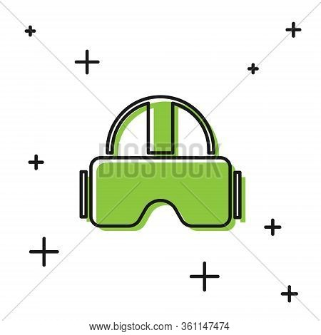 Black Virtual Reality Glasses Icon Isolated On White Background. Stereoscopic 3d Vr Mask. Vector Ill